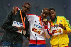 Mo Farah, middle, made it double gold as well