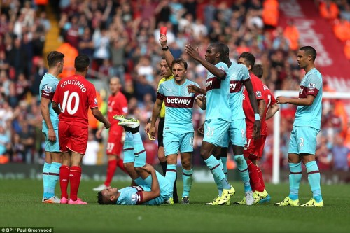 West Ham players at Anfield, Coutinho gets a red card