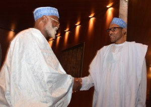 General Abdulsalami and President Buhari when the Peace Committee visited on 11 August