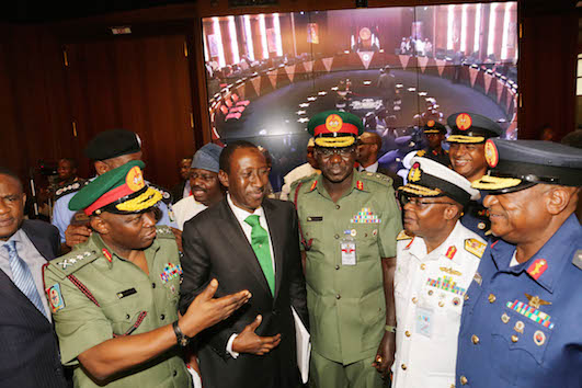 Service chiefs with Monguno, second left