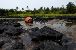 A site of oil spill in Ogoni land,  Rivers state