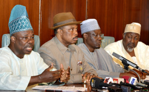 Amosun, Obiano, Ahmed and Badaru brief the media after NEC meeting