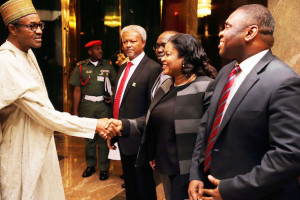 President Muhammadu Buhari, Director General/CEO National Information Technology Development Agency (NITDA), Mr Peter Jack, Managing Director NigComSat, Abimbola Alale and Director Public Affairs, NCC, Mr Tony Ojobo after a briefing session with the President on it's activities at the State House in Abuja. PHOTO; SUNDAY AGHAEZE.