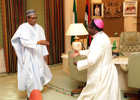 Catholic Bishop of Sokoto Diocese, Bishop Mathew Hassan Kukah and President Buhari today .PHOTO; SUNDAY AGHAEZE. OFFICE OF THE PRESIDENT. AUGUST 27 2015.