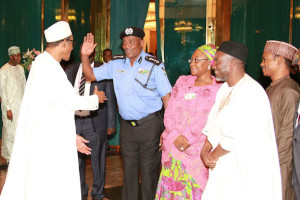 Arase salutes his Commander-in-chief, President Buhari, who wants a handshake instead