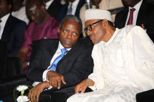 President Muhammadu Buhari and Vice President Prof Yemi Osinbajo SAN during the opening of the body's 55th Annual General Conference held at the International Conference Centre in Abuja. PHOTO; SUNDAY AGHAEZE.