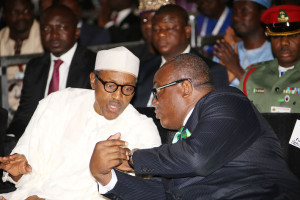 President Muhammadu Buhari chats  with the  President of Nigerian Bar Association (NBA), Mr Augustine Alegeh SAN during the opening of the body's 55th Annual General Conference held at the International Conference Centre in Abuja. PHOTO; SUNDAY AGHAEZE.