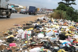 Refuse at the Arepo section of the road.