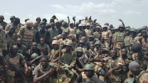Nigerian troops in a group photo with General Buratai