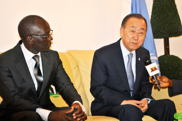 Secretary –General  of United Nations , Mr. Ban Ki Moon addressing the press as he arrives the Presidential Lounge of the Nnamdi Azikiwe  International Airport , Abuja on Sunday. Photo: ENOCH REUBEN