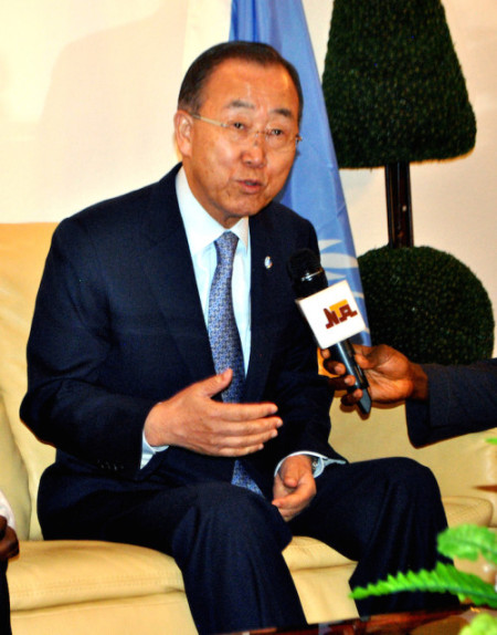 Secretary –General  of United Nations , Mr. Ban Ki Moon addressing the press as he arrives the Presidential Lounge of the Nnamdi Azikiwe  International Airport , Abuja  on Sunday. Photo:  . ENOCH REUBEN