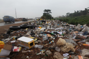 An illegal refuse dump side at Arepo bus stop a