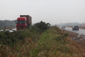 Another portion of Lagos-Ibadan express way taken  over by weeds