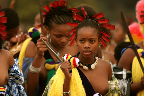 Young women in reed dance for their Swazi King