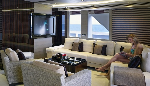 A sitting area of the yacht