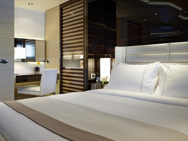 One of the bedrooms of the Super yact, Galactica Star