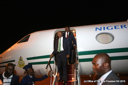 CBN governor, Godwin Emefiele steps out of the aircraft that brought VP Yemi Osinbajo and others to Abidjan