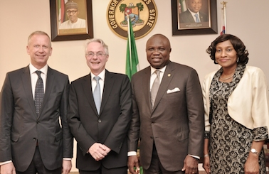 Ambode (2nd right),  Mr. Michael Zenner (2nd left), Consul General of the Federal of Republic of Germany, Lagos, Mr. Ingo Herbert (left) and the Permanent Secretary, Office of Overseas Affairs & Investment (Lagos Global), Mrs. Arinola Olufunmilayo Odulana (right