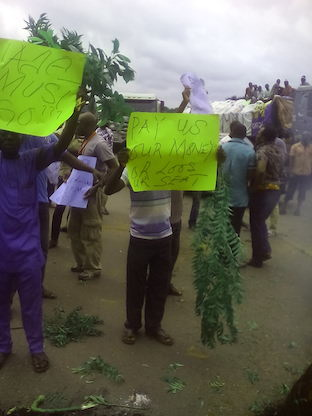 Workers with anti-WADA placards
