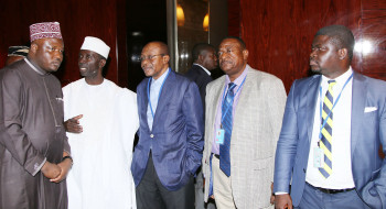 L-R: Senior Special Assistant to the President on National Assembly Matters (House of Rep), Hon Kawu Abdulrahman, Deputy Governor of Kaduna State, Hon Bala Barnabas Bantex, Chief of Defense Intelligence, Air Vice Marshal Morgan Monday Riku and CBN Governor, Mr Godwin Emefiele and First Secretary Permanent Mission of Nigeria, Mr Sunny E. Edem