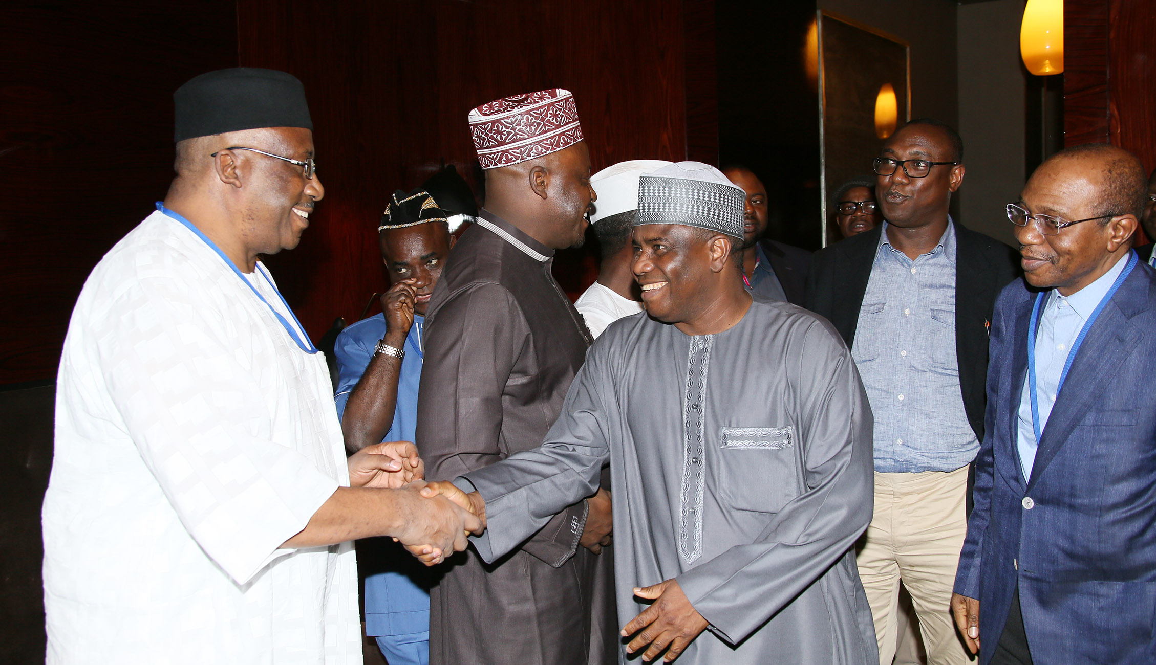 L-R: Former Chief of Army Staff, Lt General Abdulrahman Dambazau, Senior Special Assistant to the President on National Assembly (House of Reps), Hon Kawu Abdulrahman, Sokoto State Governor, Rt Hon Amuinu Tambuwal and CBN Governor Mr Godwin Emefiele.