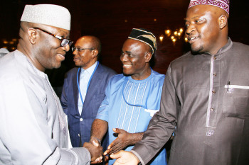 L-R: APC Chieftain and Former Governor of Ekiti State, Dr Kayode Fayemi, CBN Governor Mr Godwin Emefiele, Senior Special Assistant to President Muhammadu Buhari on National Assembly Matters (Senate), Senator Ita Solomon Enang and Senior Special Assistant to President Muhammadu Buhari on National Assembly Matters (House of Reps), Hon Kawu Abdulrahman as President arrives the Millennium Hotel in New York.