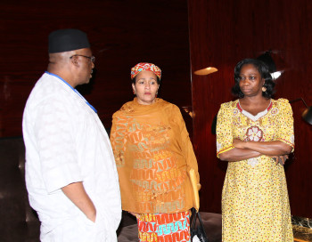 L-R; Former Chief of Army Staff, LT General Abdulrahman Bello Dambazau, the United Nations Secretary-General Ban Ki-moon's Special Adviser on Post-2015 Development Planning, Mrs. Amina J. Mohammed and APC Chieftain Hon Abike Dabiri-Erewa during the arrival of President for UNGA70 event in New York. Photo by Sunday Aghaeze