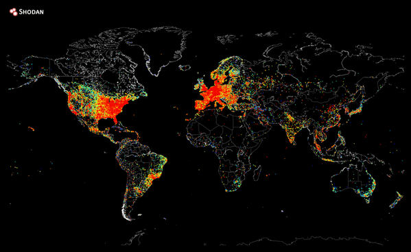 The Internet map of the world: Only specks of lights in some African countries
