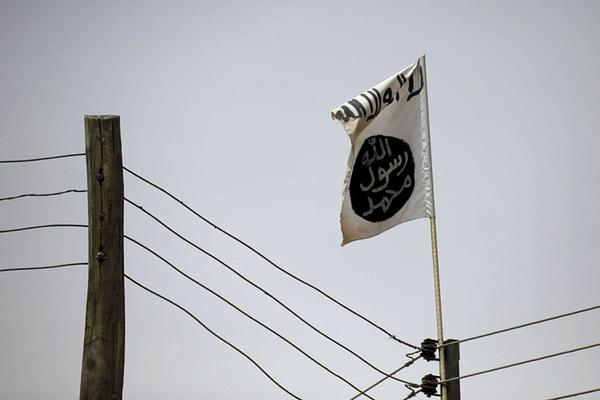 A Boko Haram flag in a part of the town