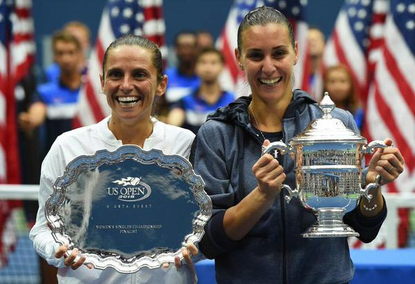Flavia Pennetta, right, with runner up, Roberta Vinci