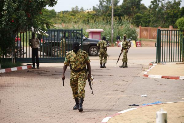 Masked Burkinabe soldiers arriving venue of a meeting of anti-coup opposition