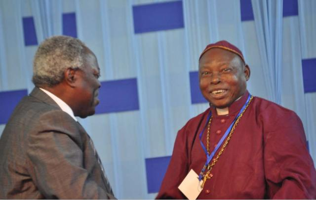 General Superintendent of Deeper Christian Life Ministry (DCLM), Pastor William F. Kumuyi, exchanging greetings with Christian Association of Nigeria (CAN) Chairman, Mushin  Province  Bishop Joseph Oladipo,