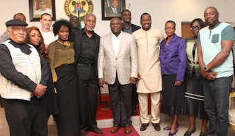Ambode (middle), Co-producer, 93days & the Director, Dusable Museum USA, Mr. Pemon Rami, Popular Nollywood Actress, Bimbo Akintola, MD, Terrakulture, Mrs. Bolanle Austin-Peters, Veteran Hollywood Film Producer, Mr. Danny Glover, Popular Nollywood Actress, Bimbo Akintola, Permanent Secretary, Ministry of Tourism, Arts & Culture, Mrs. Olufunmilayo  Balogun, her counterpart for Ministry of Health, Dr. Omodele Osunkiyesi, Popular Nollywood Actor, Segun Arinze  and others during a courtesy visit to the Governor