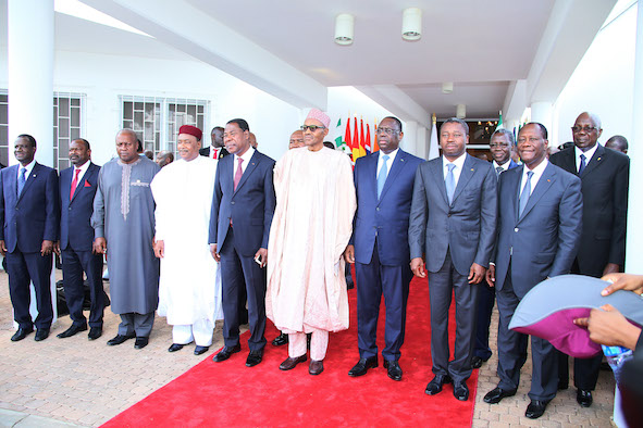 ECOWAS leaders at the end of their extra-ordinary summit in Abuja
