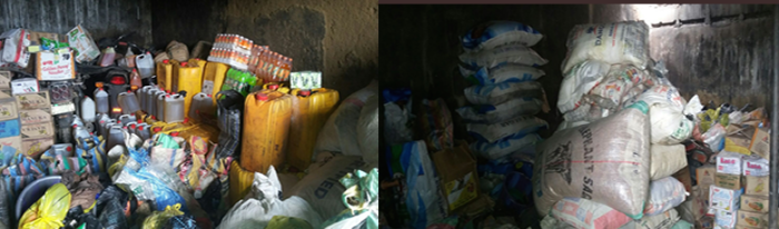 The foodstuffs recovered from Boko Haram suppliers