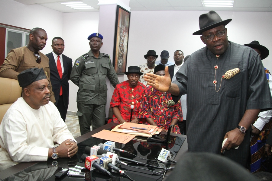 Governor Dickson (right), speaking during a courtesy call on the Acting National Chairman of PDP, Chief Uche Secondus (left) shortly after submitting his expression of interest and nomination form at the PDP national headquarters in Abuja. Photo by Lucky Francis