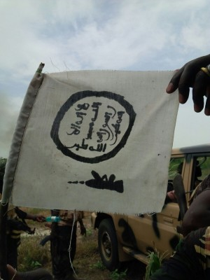 A Boko Haram flag recovered in one of the camps