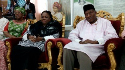 Goodluck Jonathan and Patience in Ikenne today