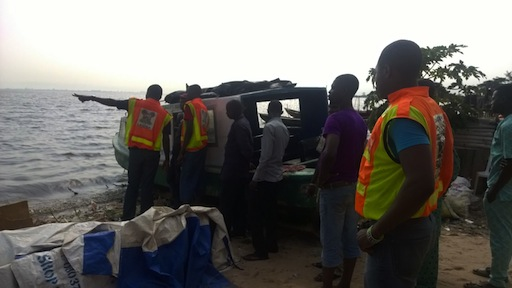 Rescuers at the scene of the accident