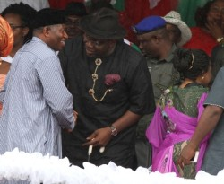Jonathan, right, Dickson and others at the declaration venue
