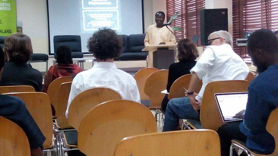 Kunle Ajibade delivering his speech at the lecture