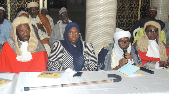 Hon. Justice Hakeem Olatunde Oshodi,deputy governor of Lagos State, Dr. Idiat Adebule, The Chief Imam of Lagos State, Alhaji Mohammed Garba Akinola and Hon. Justice Abdullah Oyekan  at a Special Prayer to commemorate the commencement of the Year 2015 /16 Legal Year held at the Lagos Central mosque, Lagos Island, Monday, September 28, 2015.
