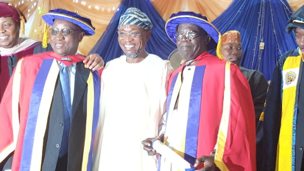 Justice Alfa Belgore, Governor Aregbesola and Asiwaju Bola Ahmed Tinubu after the conferment of honorary doctorate degrees