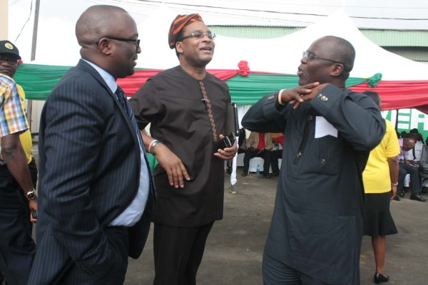 LAGBUS MD Disu, middle, with former commissioner for transportation, Kayode Opeifa