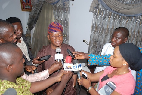Chief of Staff to Governor Aregbesola, Gboyega Oyetola, speaking with the press