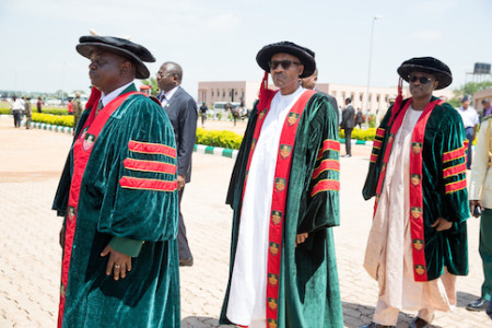 President Muhammadu Buhari (middle), Commandant Nigerian Defence Academy Maj. Gen. MT Ibrahim and Permanent Secretary Ministry of Defence Aliyu Ismaila before the commencement of the NDA convocation in Kaduna on 12th Sept 2015