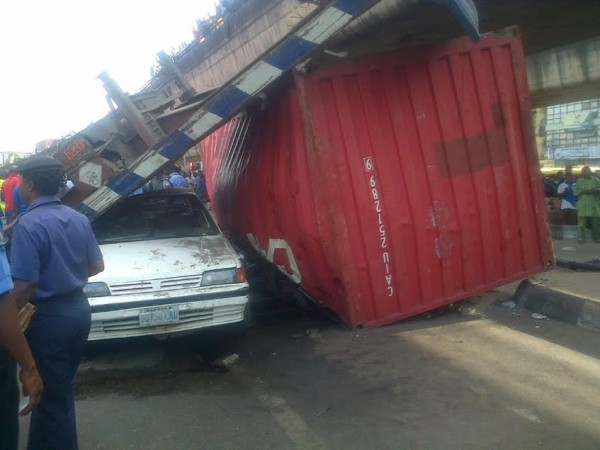 The Container accident at Ojuelegba. The Nation photo