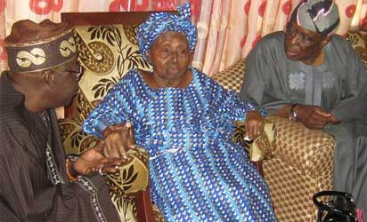 Asiwaju Bola Ahmed Tinubu and Chief Olusegun Osoba with  Hannah Awolowo in March 2013 after Oluwole Awolowo's death