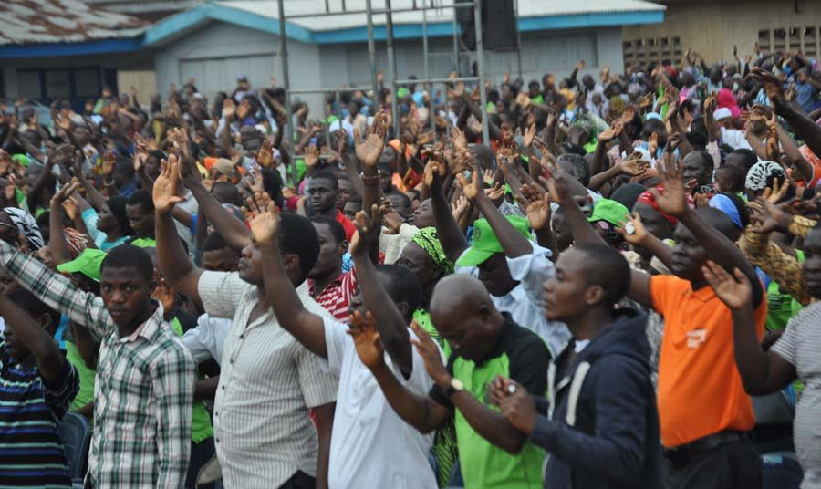 A crowd of participants at the Agege crusade