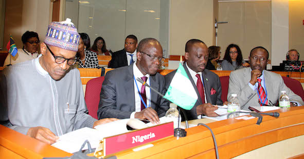 President Buhari, left,  at the African Union event in New York